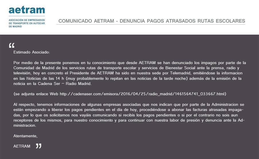 Comunicado AETRAM - Denuncia pagos atrasados rutas escolares.